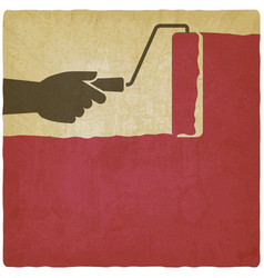 houses painting hand with paint roller on vintage vector image