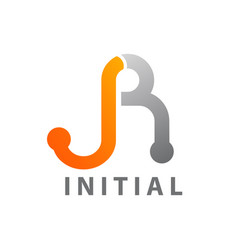 initial letter jr logo concept design technology vector image