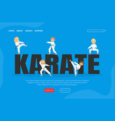 karate landing page template cute boys and girls vector image