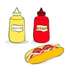 Ketchup and mustard bottles vector