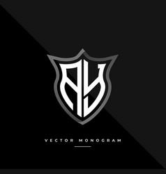 Letters ay monochrome silver shield monogram logo vector