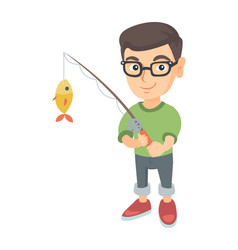 Little boy holding fishing rod with fish on hook vector