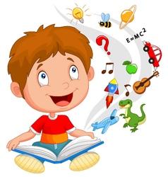 Little boy reading book education concept vector