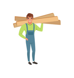 Male professional carpenter holding wooden planks vector