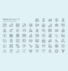 medicine outline iconset part 2 vector image