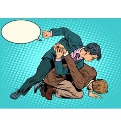 Men businessmen fighting vector image