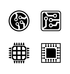 microelectronics simple related icons vector image