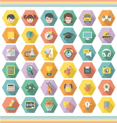 Modern Flat Education and Leisure Icons in Hexagon vector image