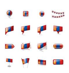 mongolia flag on a white vector image