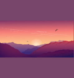 Mountain landscape under a purple morning sky vector