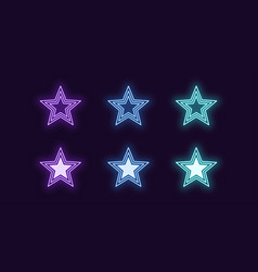 Neon icon set glowing star shiny sign vector