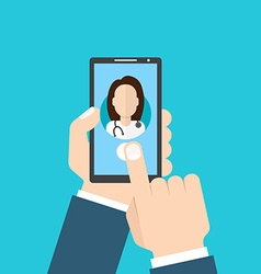 Online Doctor female Man holding smartphone vector