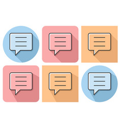 Outlined icon of speech bubble with parallel and vector