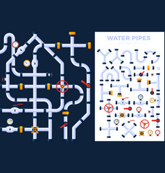 pattern and set details ware pipes system flat vector image