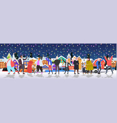 People celebrating merry christmas happy new year vector