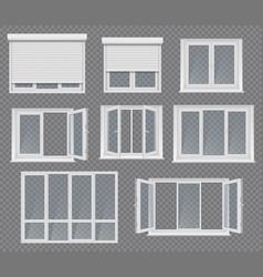plastic windows frames and jalousie set vector image