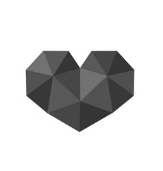 polygonal black heart symbol vector image