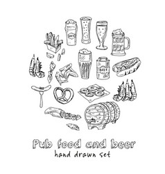 pub food and beer menu doodle icons vector image