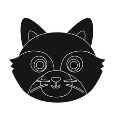 Raccoon muzzle icon in black style isolated on vector