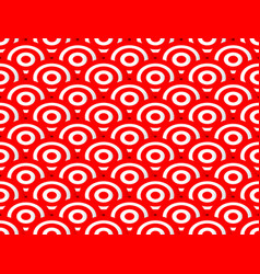red and white concentric circles abstract pattern vector image