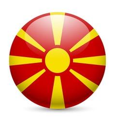 Round glossy icon of macedonia vector
