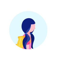 school girl profile avatar icon isolated female vector image