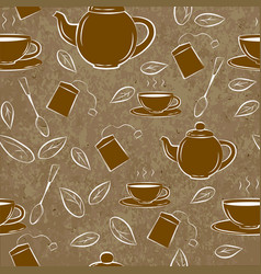 seamless pattern with teapot and cups on a brown vector image