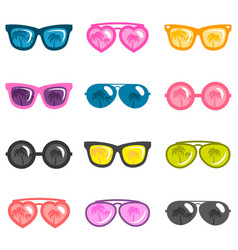 set of colorful sunglasses isolated on white vector image