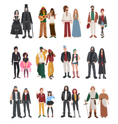 set of different subculture couple rapper vector image