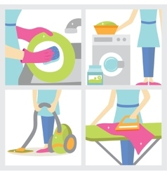 Set of four girls making cleaning the house vector image