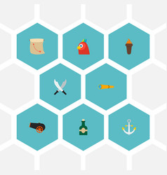 Set of piracy icons flat style symbols with cannon vector