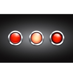 Set of three blank red buttons vector image vector image