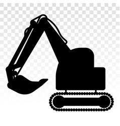 Silhouette excavator heavy equipment flat icon vector