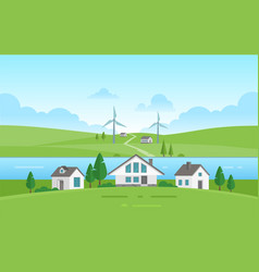 Small houses by the river - modern vector