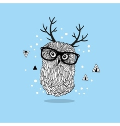 Smart owl in glasses with horns on her head vector