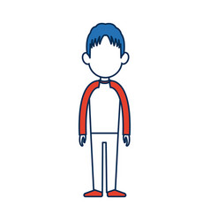 standing man avatar people blue and orange cartoon vector image