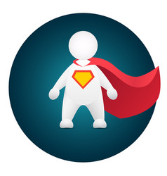 Superhero cartoon personage in red mantle vector