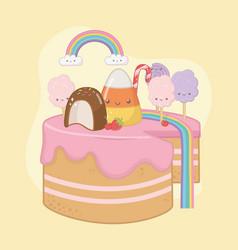 Sweet cake strawberry cream with kawaii vector