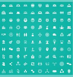 teamwork 100 icons universal set for web and ui vector image