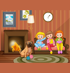 three girls sitting on sofa with pet dog vector image vector image
