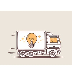 Truck free and fast delivering bulb light vector