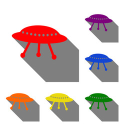 ufo simple sign set of red orange yellow green vector image
