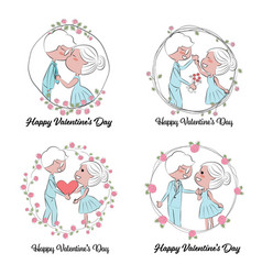valentine couple in doodle rose wreath frame vector image