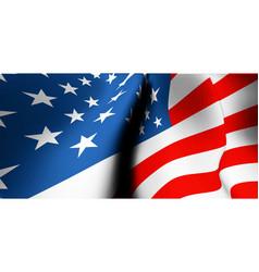 waving usa flag close up wide angle view vector image