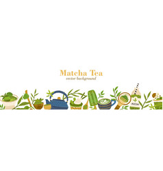 web banner template with matcha food and drinks vector image