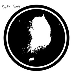 white map of south korea on black vector image
