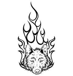 wolf head mascot design art vector image