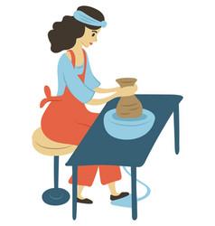 Woman making pots hobperson pottery vector