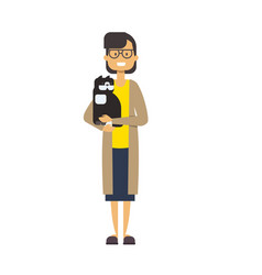 woman walking with cat full length lady with pets vector image
