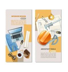 Construction Architect Vertical Banners vector image